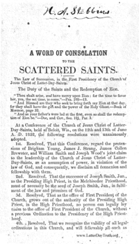 A Word Of Consolation To The Scattered Saints, 1853 (PDF)