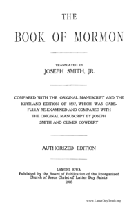 The Book Of Mormon, 1908