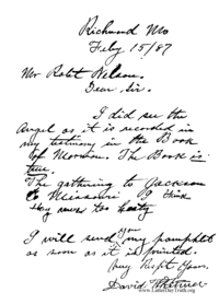 Letter To Robert Nelson On The Truth Of The Book Of Mormon