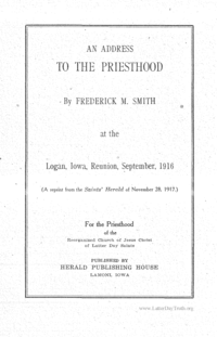 An Address To The Priesthood At The Logan, Iowa Reunion