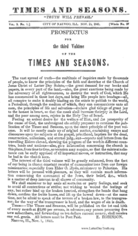 Times And Seasons (see periodical: T)