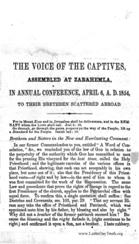 The Voice Of The Captives, Assembled At Zarahemla, In Annual Conference, April 6, A.D. 1854, To Their Brethren Scattered Abroad