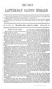 The True Latter Day Saints' Herald, volume 8