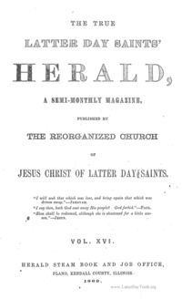 The True Latter Day Saints' Herald, volume 16