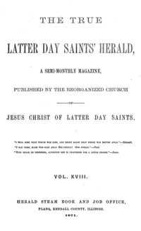 The True Latter Day Saints' Herald, volume 18