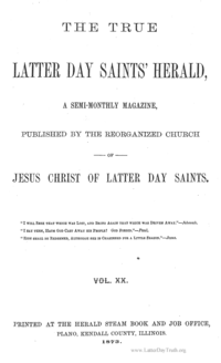 The True Latter Day Saints' Herald, volume 20