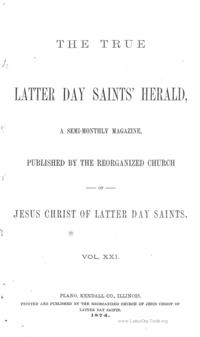 The True Latter Day Saints' Herald, volume 21