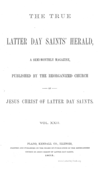 The True Latter Day Saints' Herald, volume 22