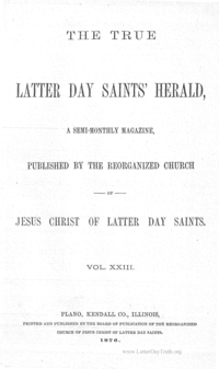 The True Latter Day Saints' Herald, volume 23