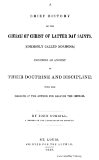 A Brief History Of The Church Of Christ Of Latter Day Saints (Commonly Called Mormons) Including An Account Of Their Doctrines And Discipline; With The Reasons Of The Author For Leaving The Church