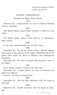 Church Chronology [from Journal of History vol. 1 and 2]