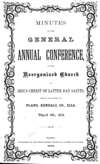 1873 General Conference Minutes [Supplement To The True Latter Day Saints' Herald]