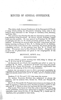 1891 Minutes Of General Conference [Supplement To The Saints' Herald]