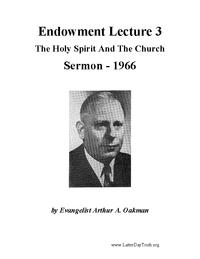 Endowment Lecture 3 - The Holy Spirit And The Church [Audio Sermon]