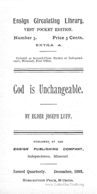 God Is Unchangeable [Ensign Circulating Library number 3]