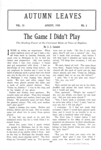 The Game I Didn't Play; The Binding Power Of The Covenant Made At Time Of Baptism [from Autumn Leaves vol. 33], 1920
