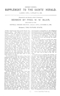 The Future State [Saints' Herald Sermon Series vol. 1], 1893