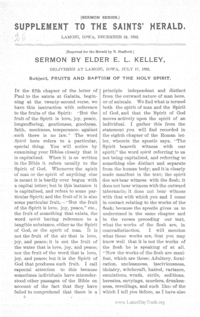 Supplement To The Saints' Herald December 24, 1892 (Sermon Series) - Fruits And Baptism Of The Holy Spirit