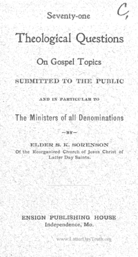 Seventy-One Theological Questions On Gospel Topics Submitted To The Public And In Particular To The Ministers Of All Denominations
