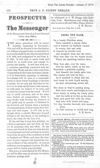 Prospectus Of The Messenger [from The True Latter Day Saints' Herald vol. 21], 1874