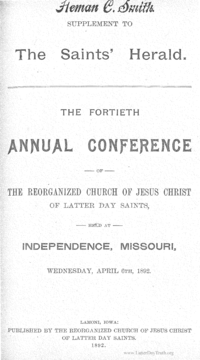1892 Minutes Of General Conference [Supplement To The Saints' Herald]