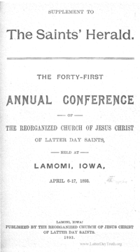 1893 Minutes Of General Conference [Supplement To The Saints' Herald]