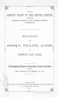 In The Circuit Court Of The Unted States, Decision Of John F. Philips, Judge, In Temple Lot Case