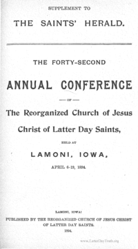 1894 Minutes Of General Conference [Supplement To The Saints' Herald]