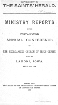 1894 Ministry Reports To The Forty-Second Annual Conference