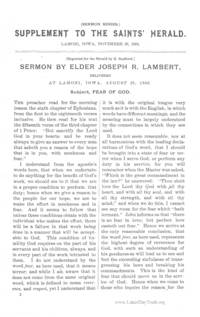 Supplement To The Saints' Herald November 26, 1892 (Sermon Series) - Fear Of God