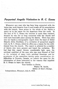 Purported Angelic Visitation To R. C. Evans