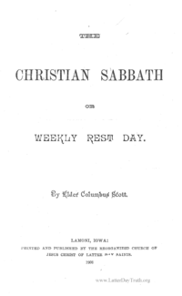 The Christian Sabbath Or Weekly Rest Day, 1908