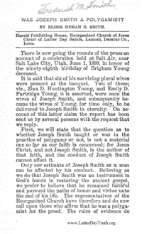 Was Joseph Smith A Polygamist, 1899