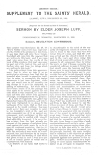 Supplement To The Saints' Herald December 10, 1892 (Sermon Series) - Revelation Continuous
