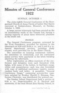1922 Minutes Of General Conference [Supplement To The Saints' Herald, pages 3079-3324