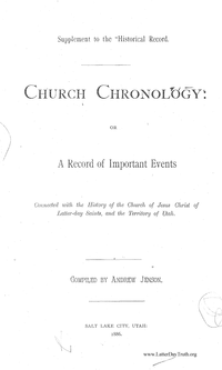 Church Chronology, Or A Record Of Important Events [Supplement to the Historical Record]