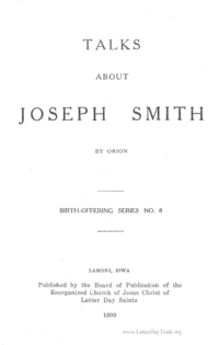 Talks About Joseph Smith [Birth Offering Series no. 8]