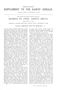 Service And Its Reward [Saints Herald Sermon Series volume 1], 1892 (PDF)