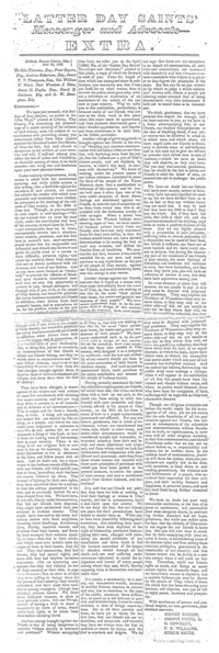 Latter Day Saints Messenger And Advocate Extra July 1836