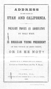 Address To The Saints In Utah And California; Polygamy Proven An Abomination By Holy Writ, 1869
