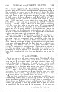 Testimony Of F. M. McDowell To The First Presidency [from 1922 General Conference Minutes]