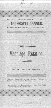 The Marriage Relation [The Gospel Banner vol. 6 no. 1], 1899