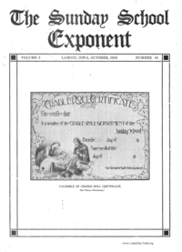The Sunday School Exponent volume 5 (Number 10 only)