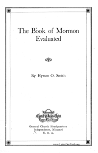 The Book Of Mormon Evaluated
