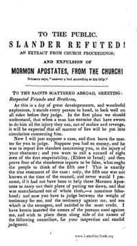 To The Public Slander Refuted! An Extract From Church Proceedings; And Expulsion Of Mormon Apostates, From The Church!