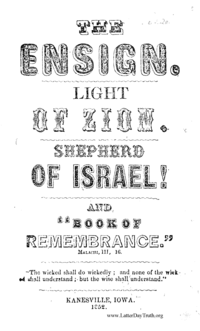 The Ensign. Light Of Zion. Shepherd Of Israel! And Book Of Remembrance
