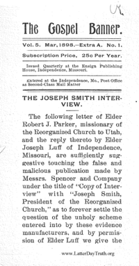 The Joseph Smith Interview [The Gospel Banner vol. 5 no. 1 extra A]
