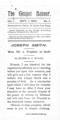 Joseph Smith Was He A Prophet Of God [The Gospel Banner vol. 1 no. 3]