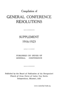 Compilation Of General Conference Resolutions 1916-1923 Supplement
