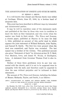 The Assassination Of Joseph And Hyrum Smith [from Journal of History volume 3]